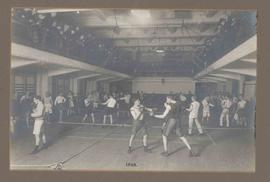 Photograph of boxing matches in the gymnasium at Regent Street