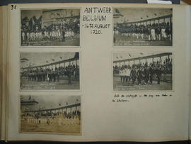 [page 36] Five photographs; The 1920 Olympics Games, Antwerp Belgium; 14 August 1920; Switzerland; South Africa; Norway; Japan; Denmark