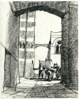 A sketch of an archway and armoured men