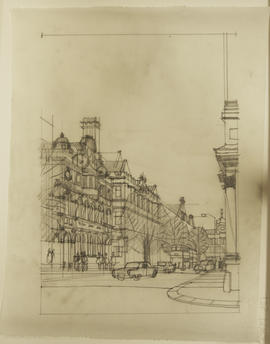 Sketch of street perspective with  traffic