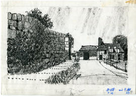 A drawing of a street and a building: P.16 and  P.39