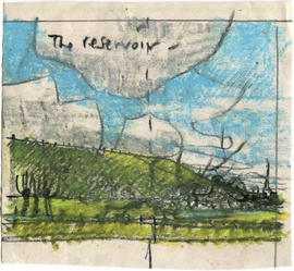 A drawing of a green space: The reservoir
