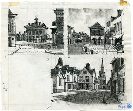 3 drawings of streets and buildings: Page 38
