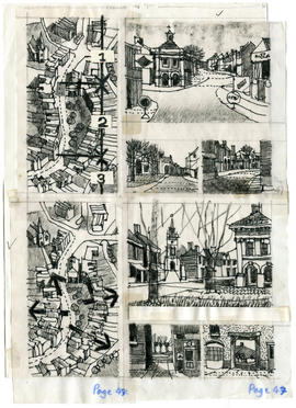 8 drawings of buildings, streets and urban plans: Page 47