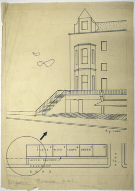 A drawing of the front of an apartment block: Fitzjohns Esplanade N.W.3