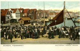 Colour postcard: Bergen - fishmarket, Norway