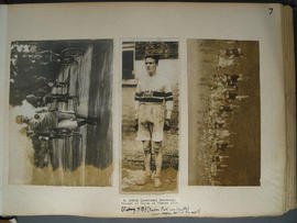 [page 7] Three Photographs: Pedestrianism; The London to Brighton Walk; 27 September 1913;  athlete [R. Bruce 1914]; Cross country race 1914