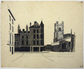 A drawing of a road and buildings: B.1