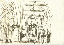 A print of a rough sketch of the interior of a building