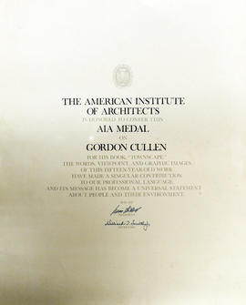 A certificate for the AIA Medal from The American Institute of Architects to Gordon Cullen