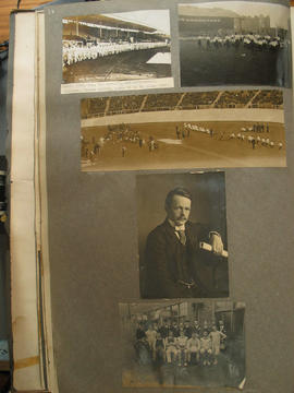 [page 14] Five photographs: sporting events; sports team; London Olympic Stadium; 26th May 1908