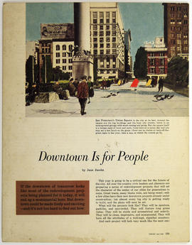 A print  of a magazine extract: Downtown Is for People