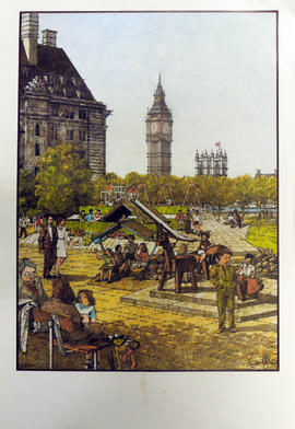 A drawing of a children's playground on the South Bank, London