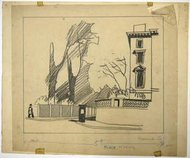 A sketch of a building and trees: Warwick Sq