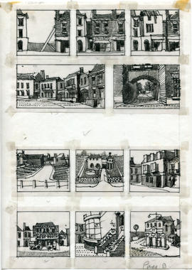 11 drawings of streets, buildings and landscapes: Page 9