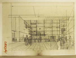Perspective sketch of British Library interior