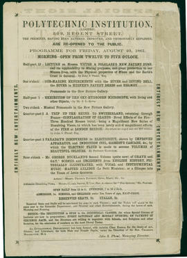 Programme for week commencing Friday Aug 23rd 1861 at the Royal Polytechnic Institution