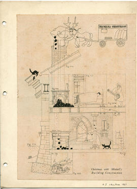 A print of a sketch of a section through a building: Christmas with Mitchell's Building Cons...