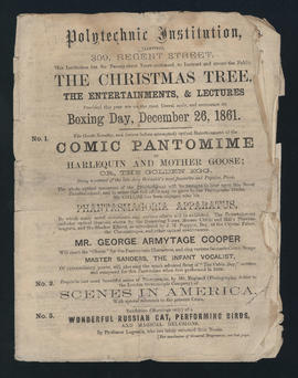 Programme for Christmas-time entertainments & lectures at the Royal Polytechnic Institution - cover