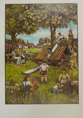 A print of a drawing illustrating a children's playground in an English village