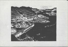No Name - Woodcut of mountain slopes, terraced, with damn under construction, and junks on water.