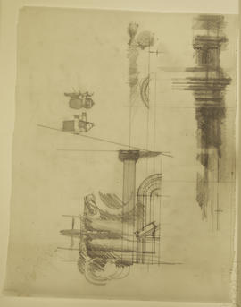 Collection of sketches depicting classical columns