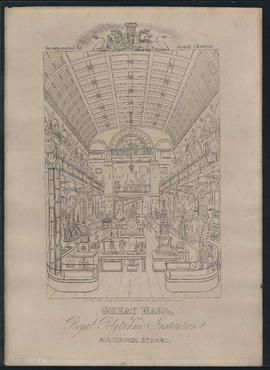 Engraving of the interior of Great Hall, 309 Regent Street