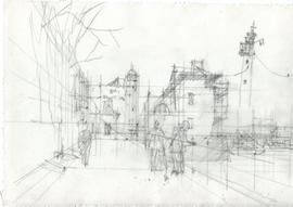 A sketch of a street and buildings