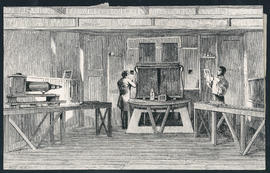 Engraving of the interior of the optical box