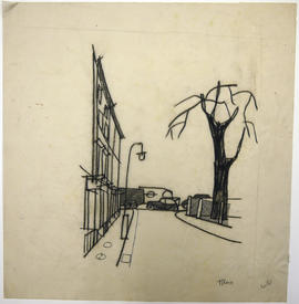 A sketch of a street and a building