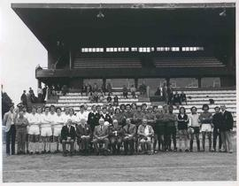 Team photograph in front of Chiswick Stadium