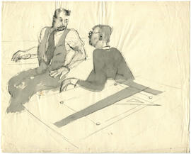 A sketch of two men at a drawing table