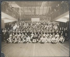 Photograph of the Polytechnic Boxing Club in the gymnasium at Regent Street.