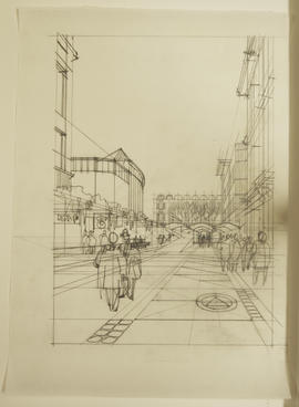 Perspective sketch of shopping district
