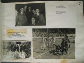 [Page 3] Three photographs:  Polytechnic Harriers 1948 Olympic Squad, Uxbridge; Caledonian Games, White City; Jimmy Wood; Doug Wilson; Stan Jones; Squire Yarrow; Rene Howell; Martin Pike