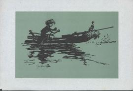 No Name - Woodcut of Cormorant fisher in boat