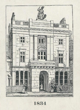 Copy of engraving of the exterior of 309 Regent Street