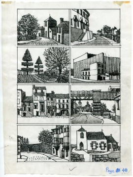 8 drawings of buildings and streets: Page 48