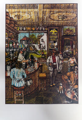 Print of drawing of pub interior with view of exterior playground