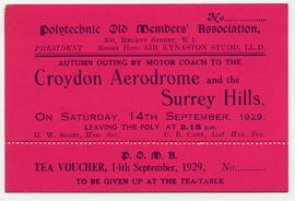 Old Members Association: Ticket for Autumn outing to Croydon Aerodrome and Surrey Hills