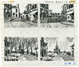 4 drawings of a street and buildings: Page 39