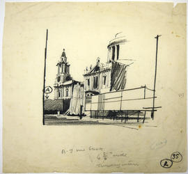 A sketch of buildings and a fountain