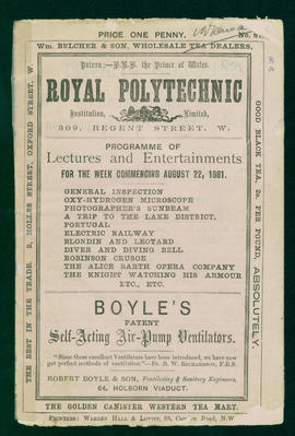 Programme for the week commencing 22 August 1881 - cover