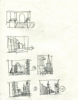 A page with a series of sketched spaces on it