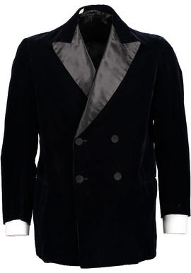 Midnight Blue Silk and Velvet Harrods Smoking Jacket